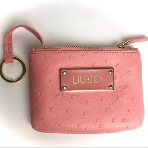 Liu Jo Pink Coin Purse Keychain Faux Leather Gold